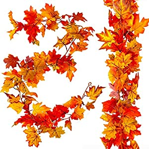 cneng 2 pcs artificial maple leaves garland thanksgiving decorations for home 5.9 ft/piece + 4 hook hanging fall leave vines autumn colorful plants for wedding halloween christmas decor silk flower arrangements