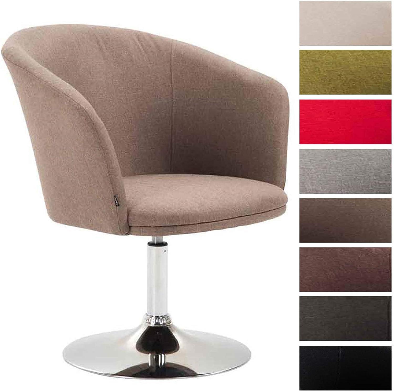 CLP Lounger Arcade mit hochwertigem Stoffbezug I drehbarer Sessel I Lehnstuhl mit Trompetenfu I Sitzhhe von 43 cm Taupe