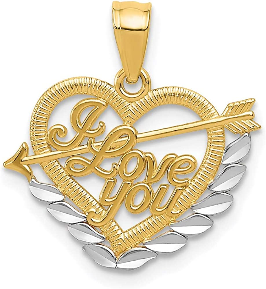 Free shipping 14k Yellow Gold and Rhodium trust Plated Pendant You I Love Heart