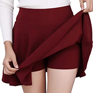 Sponsored Ad - DJT FASHION Women's Casual Mini Flared Plain Pleated Skater Skirt with Shorts