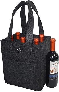 Xiuyer Borsa Portabottiglie Grigio e Rosso 2 Pezzi Borse in Feltro con Divisorio Rimovibile per 6 Bottiglie Vino Birra Acqua Bottle Tote Bag per Viaggi Picnic Feste Pacchetto Regalo