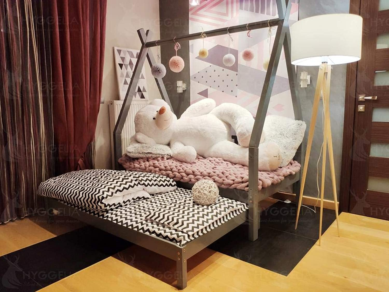 Hyggelia Hausbett Tipi aus Holz und zweites Bett, ohne Schutzbarrieren, Kinderbett, Jugendbett, Hüttenbett, Farbe (152 x 203 cm (Queen Größe), Gemalt (Farbe whlen))