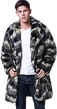 Amore Bridal Men's Faux Fur Coat Long Black Jacket Warm Furry Overcoat Outwear