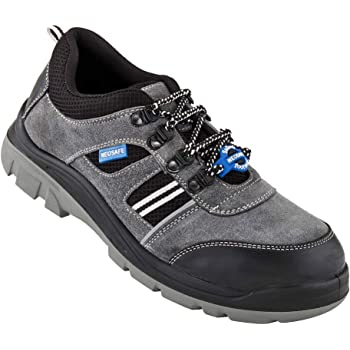 Neosafe A7020_10 RunX Men's Grey Sued Leather Safety Shoes with Steel Toe, Size 10, with PU Insole for Anti Fatigue effect