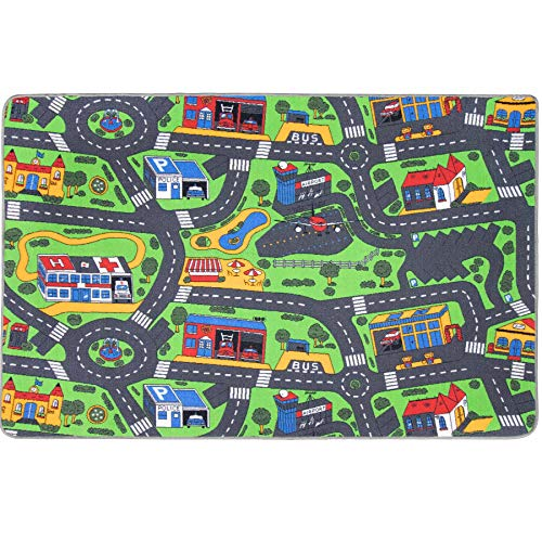 Spielteppich mit Straßen - City, 140x200 cm, Pflegeleicht, Fußbodenheizung Geeignet, Spielmatte, Auto-Kinderteppich für Mädchen & Jungen