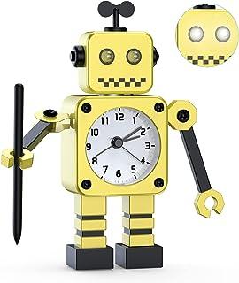 Réveil Robot,Réveil analogique,Réveil Silencieux en Métal Inoxydable avec Yeux Lumineux Clignotants et Bras Rotatif, Cadea...