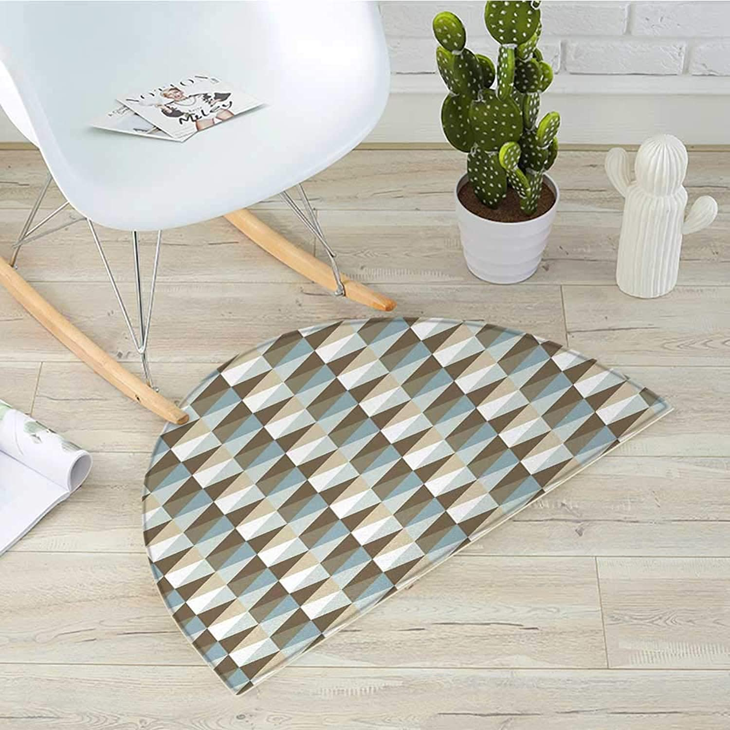 Geometric Half Round Door mats Abstract Triangles Chevron Three Dimensional Effect Shapes with Soft colors Image Bathroom Mat H 39.3  xD 59  Multicolor