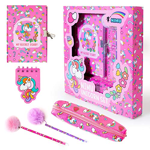 NIMU Unicorn Stationary Set Everything in Gift Pack My Secret Diary Fluffy Pens Case Pocket Notebook Mini Notebook Gift for Girls Teenage 4 5 6 7 8 9 10 11 12 13 Years