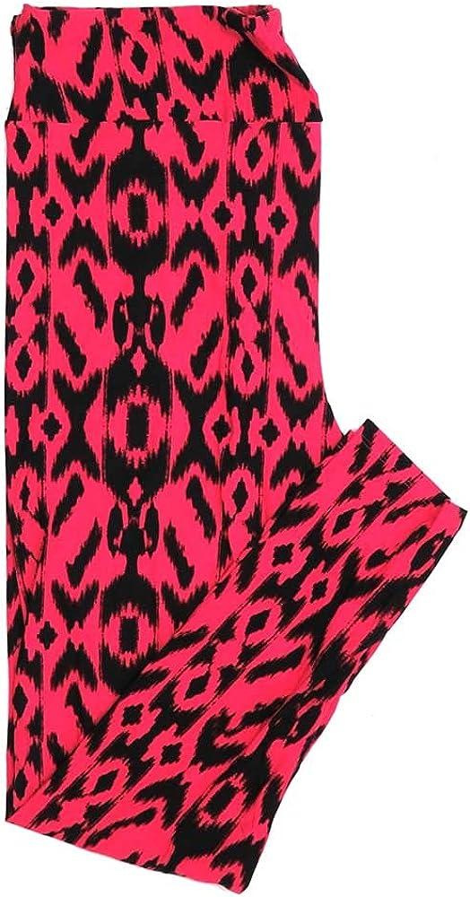 Lularoe Tall Curvy TC Hot Pink Black Geometric Stripe Buttery Soft Womens Leggings fits Adults Sizes 12-18 TC-7319-1