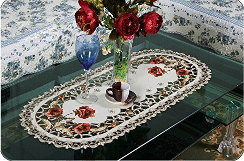 Seasofbeauty Embroidered Table Runner Red Floral Cutwork Tablecloth Table Home Decor 1pc by