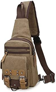 Lcxliga Men's Chest Bag Zipper Canvas Waterproof Messenger Bag Shoulder Bag , Outdoor Leisure, Portable and Comfortable(Color: Khaki)