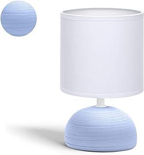 Aigostar - Lampe de table, chevet, bureau avec base céramique et abat-jour tissu. Douille E14. Écologique, moderne et vint...