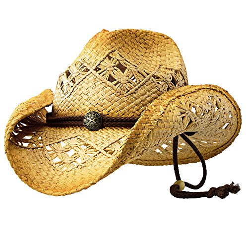 Sonoma (Medium) - Deadwood Trading | Natural Raffia Straw Cowboy Hats for Men & Women | Hit The Beach in Cowgirl Style | Cute Summer Hat w/Shapeable Brim, Cotton Band, Concho & Adjustable Chin Strap