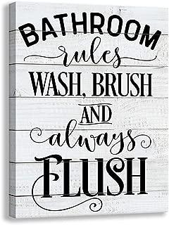 Shang pin Vintage Bathroom Canvas Wall Art   Antique Woodgrain Background Printed Bathroom Rule Frame   Bathroom Wall Sign Decoration (12 X 15 inch, Bathroom)