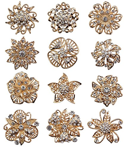 keland 12-teiliges Set Mix Kristall Brosche Schal Schnalle Blumen Brosche Strass Bouquet Set Großhandel (Gold)