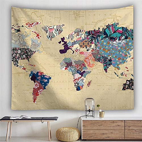 AdoDecor Karte Tapisserie Wandbehang Tapisserie Weltkarte Zusammenfassung Retro...