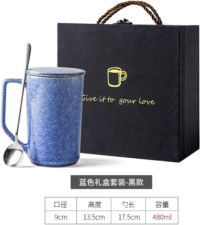 MK MUG Tasse en Céramique Faite Main avec Couvercle Cuillère Grande Capacité Tasse à Café Tasse à Lait - Costume Bleu + Boîte-Cadeau Noire