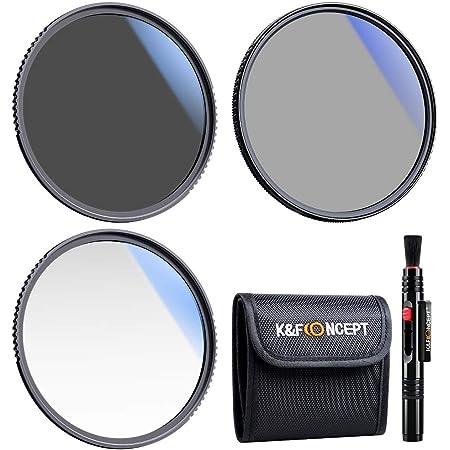 K&F CONCEPT Filtres 72mm UV Polarisant CPL ND4 Pinceau de Nettoyage Pochette en Kit pour Objectif Appareil Photo Numérique