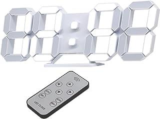 デジタル時計 LED時計 壁掛け時計 置き時計 3D LED CLOCK 目覚まし時計 音なし9.7インチリモコン付きナイトランプ年/月/日温度表示白色のキッチン時計(ACアダプター付属無し) KOSUMOSU ACD-210W