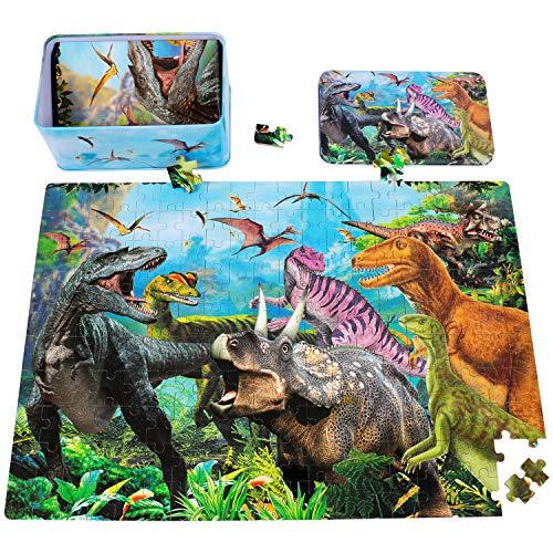 Rolimate Rompecabezas de Madera para niños, Rompecabezas de Dinosaurios Juguetes educativos Montessori con Caja de Rompecabezas de Metal, 3 4 5 6 años niños niñas [200 Piezas]