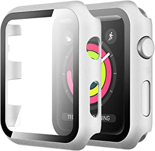 Simpeak Case with Glass Screen Protector Compatible with Apple Watch 38mm Series 3 2 1, Full Coverage Hard Case Cover Buil...
