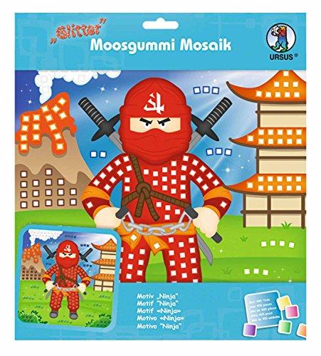Ursus 8420010 - Moosgummi Mosaikbild, Ninja mit Glitter, ca. 25 x 27 cm