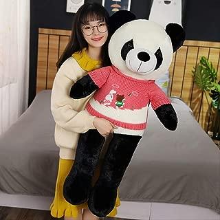 DOUFUZZ Lindo bebé Gran suéter Panda Oso de Felpa Relleno Animal muñeca muñecas niños Navidad niñas Regalos de Amante Regalos 60cm Rojo