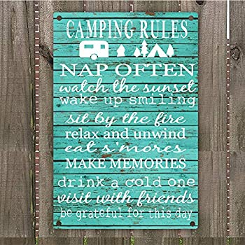 """Camping Rules Vintage Retro Metal Sign Wall Art 8"""" x 12"""" Decoration Hunting Camper Room"""