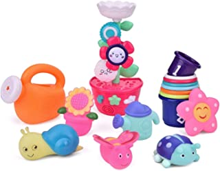 FUN LITTLE TOYS Bath Toys Toddlers, Flower Waterfall Water Station Garden Squirter Toys, Stacking Cups Watering Can, Bath ...