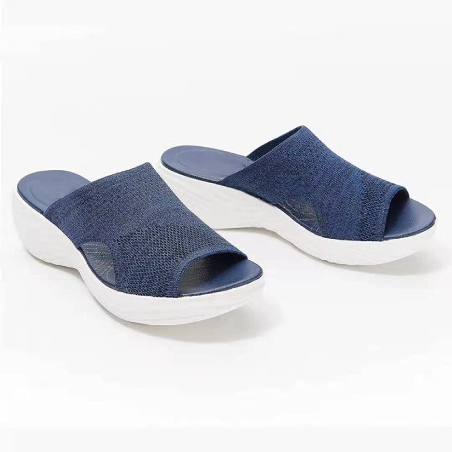 LELEBEAR 2021 Upgraded - Stretch Orthotic Slide Sandals for Home Indoor Outdoor, Flat Heel Casual Mesh Upper Breathable Women's Summer Beach Shoes (Blue,37)