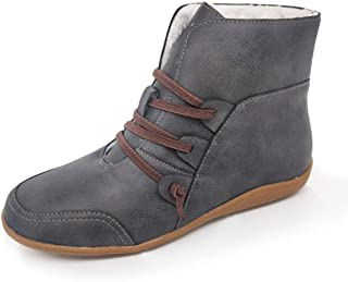 CUCAMM Booties for Women, Ladies Footwaer Winter Warm Flat Casual Shoes Retro Sshort Boots