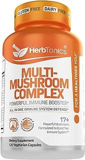 Mushroom Supplement Complex for Humans Immune System Defense Support with Lion's Mane Pills, Cordyceps, Reishi – 120 Vegan...