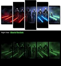Picture Sensations® Glow In The Dark Framed Canvas Art Print, Star Wars Darth Vader Luke Skywalker Yoda Darth Maul Lightsaber Canvas Art - 60