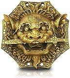 MWKL Ornamento, Estatua de Feng Shui Espejo Bagua Feng Shui Cobre León Mordedura Espada Chisme Espejo Cabeza de Animal Hogar Hermosos Adornos Colgante Feng Shui