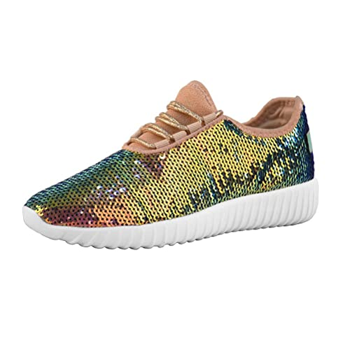 Lucky Step Women Mermaid Sequin Glitter Tennis Sneakers for Spring Gold Reversible Turquoise Green Gold Gym