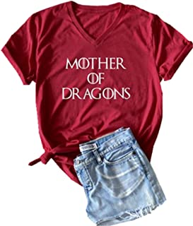 Mother of Dragons Cute V-Neck T Shirt Women's Letter Graphic Short Sleeve Tees Casual Tops