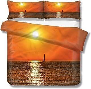 Mademai Queen Size Duvet Cover Set Nautical,Sailboat Sea Sunrise for Kids/Teens/Adults Hidden Zipper Quilt Cover Printed