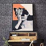 ganlanshu HD Mariposa Negra en Cara de Mujer Abstracta sobre Lienzo Arte de la Pared póster Sala de Estar decoración del hogar,Pintura sin marco-50X67cm