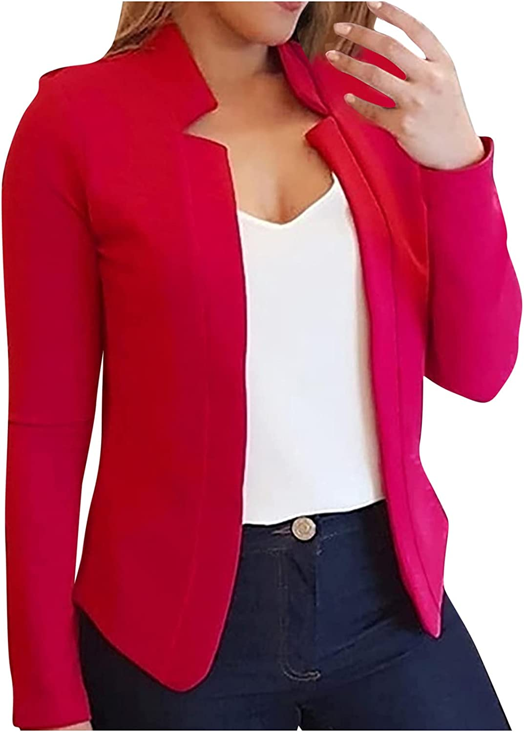 Women's Solid Color Casual Fashion Jacket Coat Long-Sleeved Cardigan Jacket Coat Top