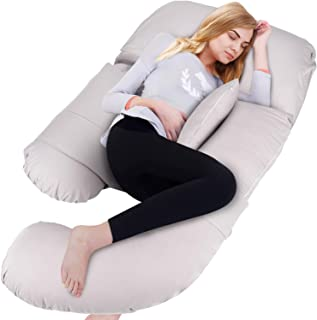 BATTOP Full Body Pregnancy Pillow G-Shaped Maternity Pillow Removable for Sleeping with Nursing Baby Design Support for Back Belly Hips Legs (Light Grey)