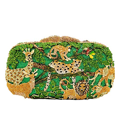 Forest Animal Pattern Style Crystal Clutch Purses for Women Formal Evening Bags (Light Green)