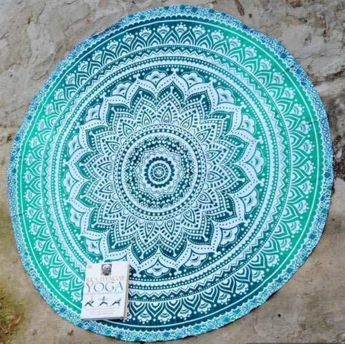 The Art Box Indisches Ombre Mandala Runde Tapisserie, Hippie Boho Gypsy Baumwolle Tischdecke Strandtuch Kreis Strandtuch Picknick Stranddecke Runde Yogamatte (Türkis, 178 cm)