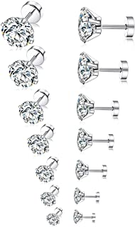 Tornito 7 Pairs 20G Stainless Steel Stud Earrings Round Cubic Zirconia Earring Set For Men Women 2MM-8MM