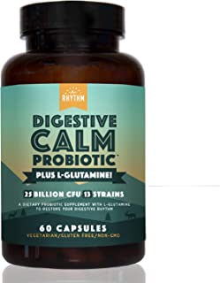 Digestive Calm Probiotic (Plus L-Glutamine) 25 Billion CFU and 13 Strains. - Natural Support for Better Digestion - for Bl...