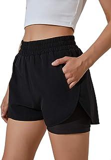 BMJL Women's Running Shorts Elastic Waistband High Waisted Shorts Pocket Sporty Workout Shorts Gym Athletic Shorts Pants