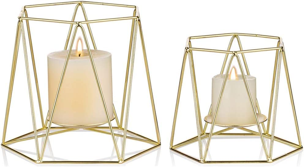 DLYDSSZZ Set of Special Max 87% OFF sale item 2 Large Gold Pillar Candle Holders Metal Geomet