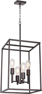 4 Light VINLUZ Oil-Rubbed Bronze Foyer Pendant Light Industrial Vintage Square Wide Cage Farmhouse Chandelier for Dining Room Foyer Entryway Kitchen