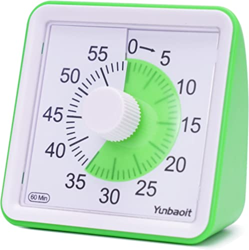 Yunbaoit Visual Analog Timer,Silent Countdown Clock, Time Management Tool for Kids and Adults Green