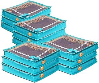 KANUSHI Industries Set of 12 Pc Flower Design Transparent Saree Cover/Saree Bag with Stainless Steel Zip Lock Combo(Large)...