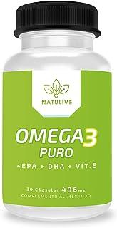Omega 3 Puro + EPA/DHA + Vitamina E | Aceite de pescado Omega 3 de alta calidad | Alta dosis de ácidos grasos omega 3 | Fortalece tu sistema cardiovascular | Potente antioxidante natural | 30 cápsulas